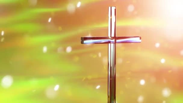 Keresztény kereszt fényes háttérrel, koncepció húsvéti és karácsonyi háttér 3D render