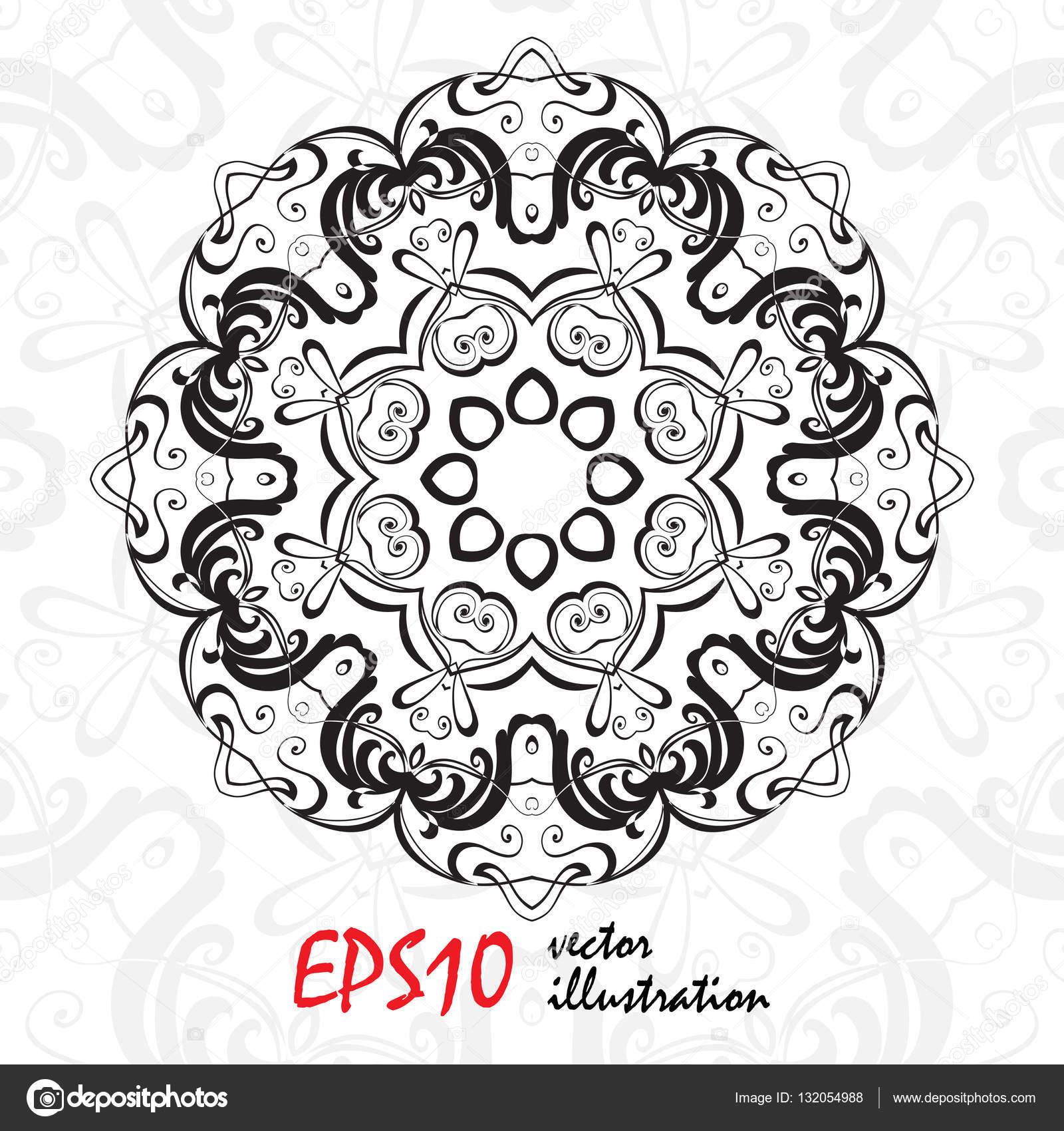 Geometrische Mandala-Hintergrund schwarz und weiß. Runde Ornament ...