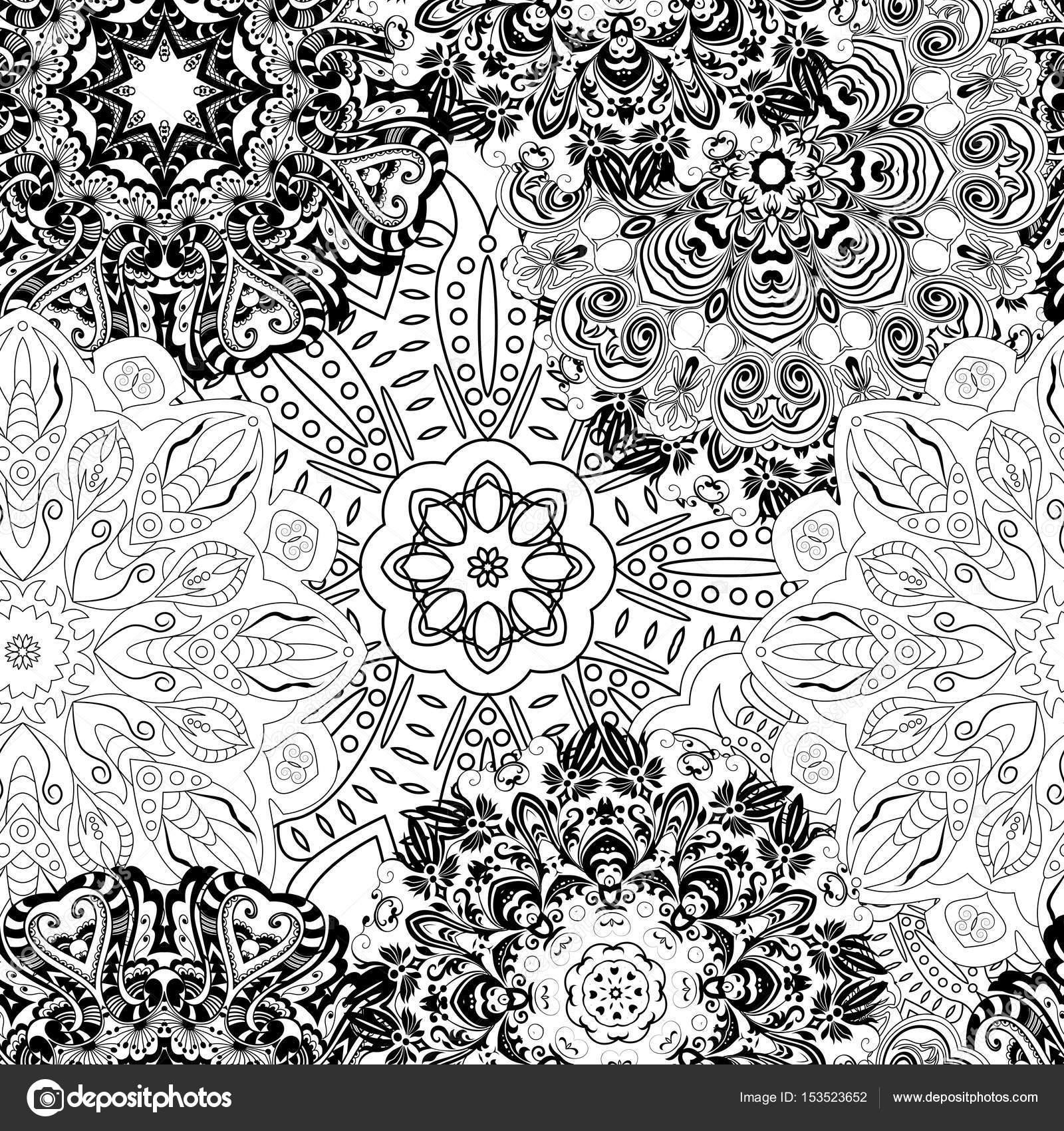 Patrón de perfecta mandala blanco y negro. Monocromática fondo ...