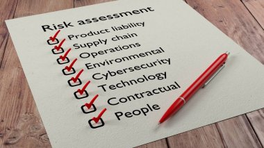 Risk assessment checklist with red pen and paper