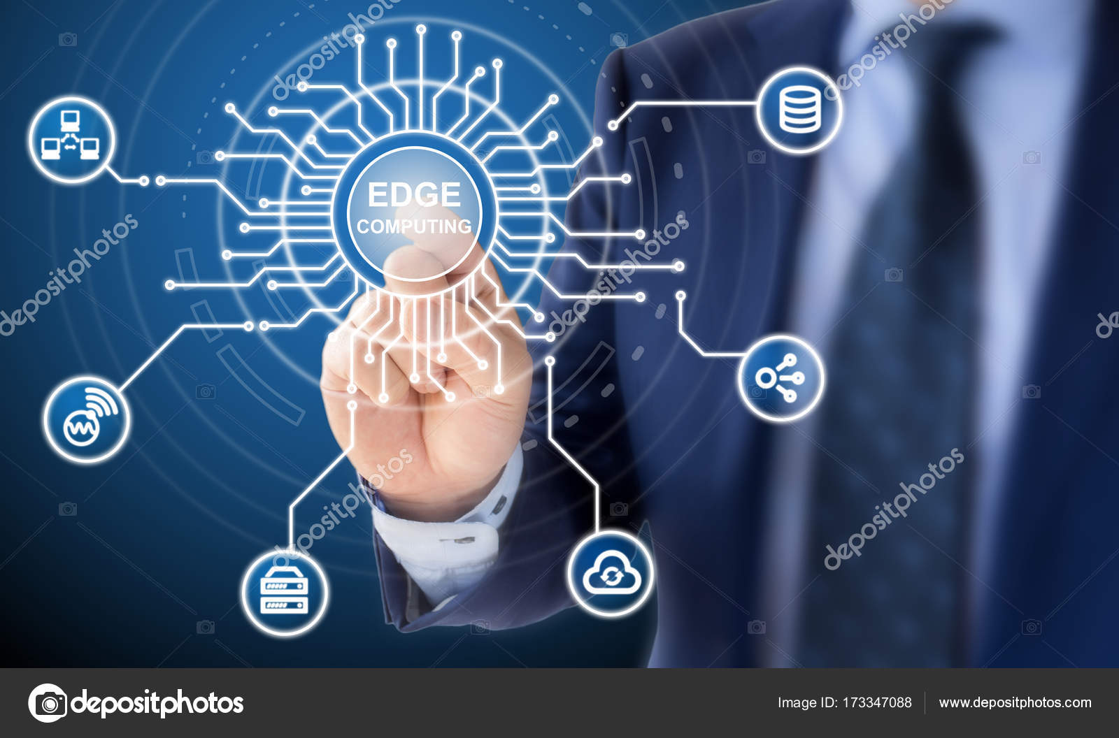 edge computing circuit diagram explained by it expert — stock photo