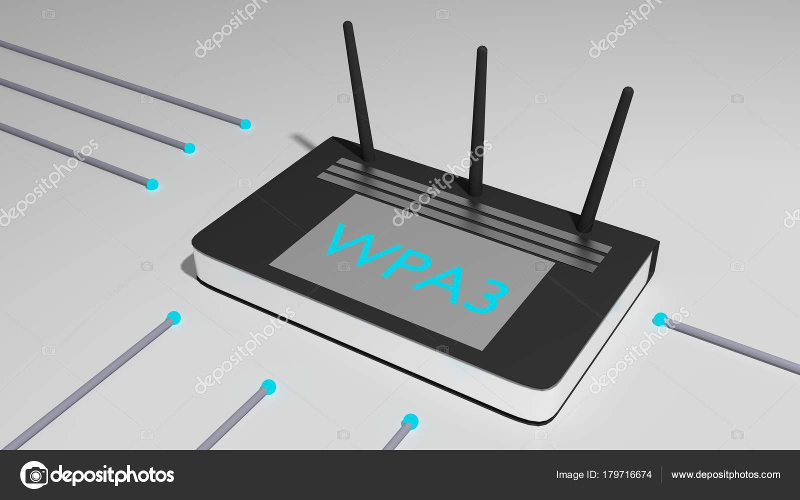 Router negro con tres antenas y el cyber de la abreviatura Wpa3 ...