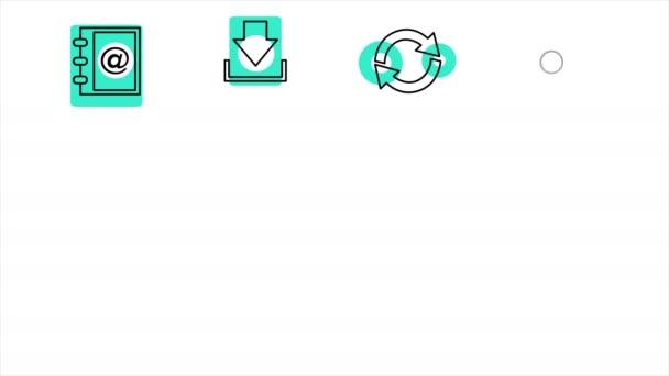 Geschäfts- und Bürozeilen-Symbole. 4k