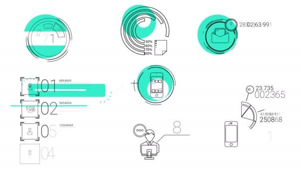 Infografika prvky v styl čáry. Modrá skvrna