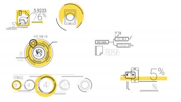 Infografika prvky v styl čáry. Žlutá skvrna