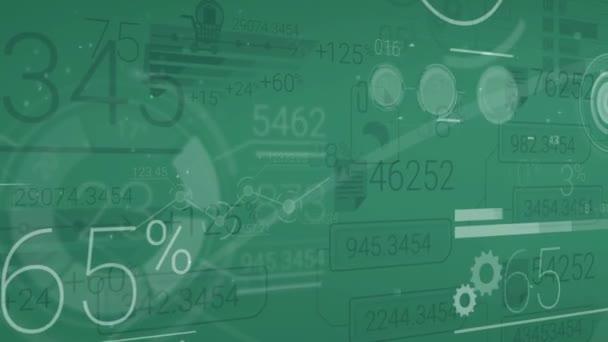 Tmavě zelené firemní pozadí s abstraktní prvky infografika
