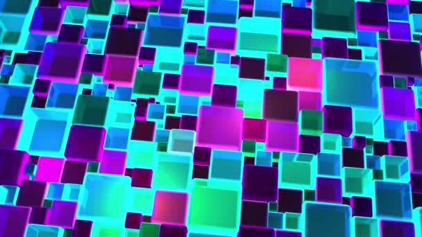 Neon barevná světla kostky pozadí v rozlišení 4k