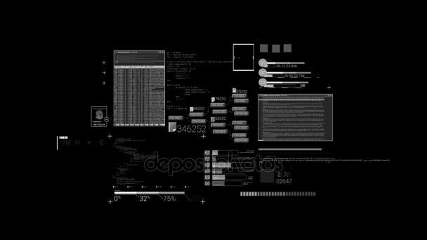 Hacker textury, prvky kódu a rozhraní