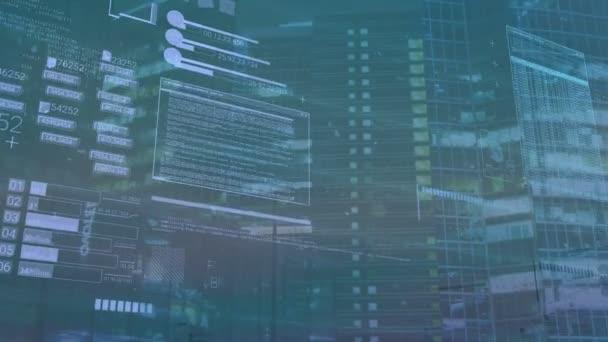 Počítač na pozadí s prvky rozhraní, kódování nebo It technologií