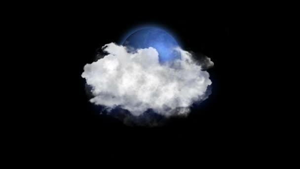 Hold felhő, időjárás ikon