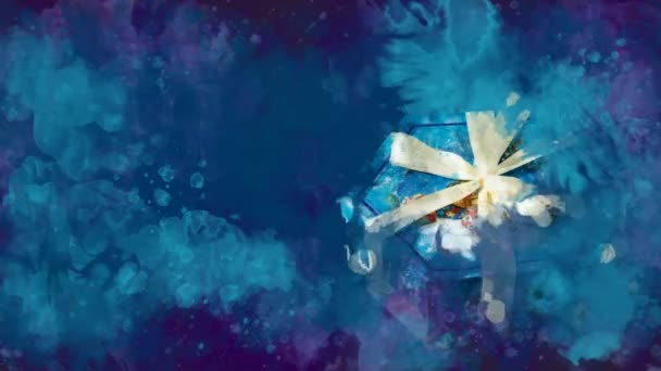 Akvarell karácsonyi dekoráció hatszög doboz a háttérben a színes foltok.