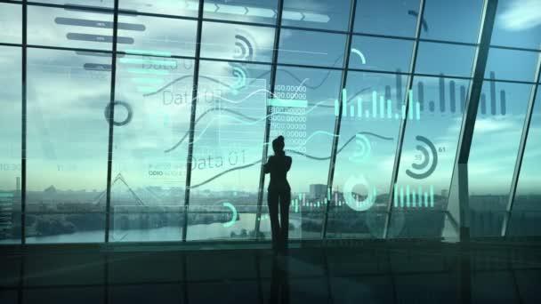 Silhouette einer Geschäftsfrau, umgeben von einer Reihe von Daten.
