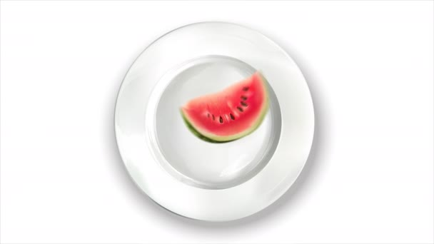 Animation of watermelon, leaves and banana on a white plate.