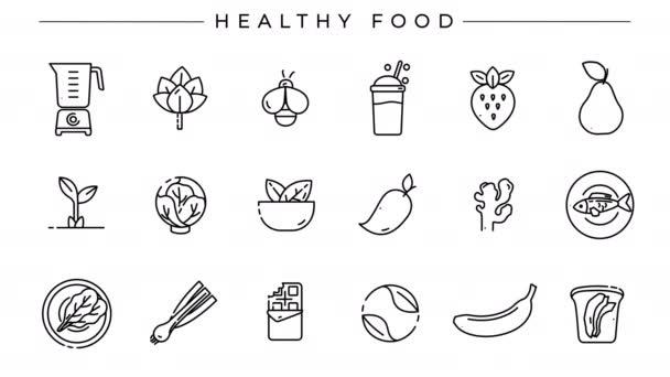 Gesunde Ernährung Konzept Linie Stil-Symbole gesetzt.