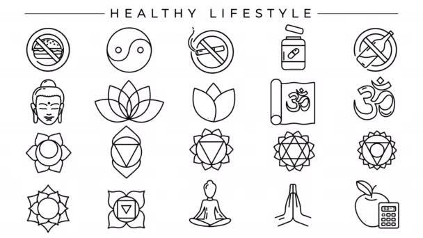Egészséges életmód koncepció vonal stílus ikonok készlet.