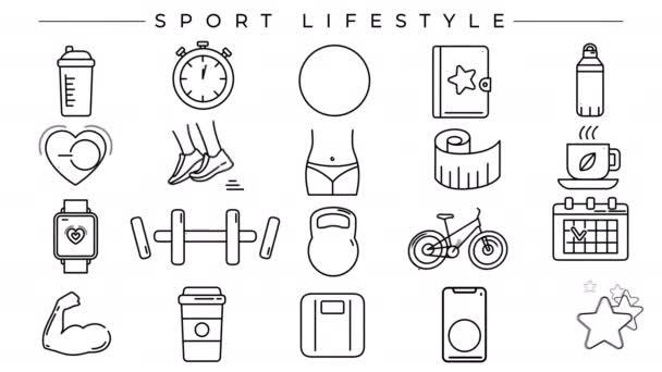 Sport Koncepce životního stylu linie ikony set.