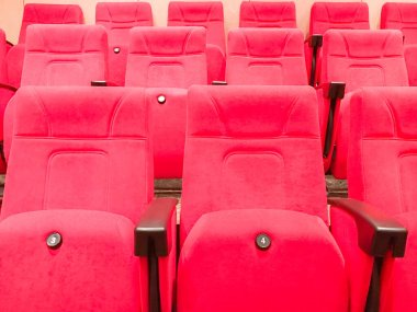 Empty row red cinema or theater seats