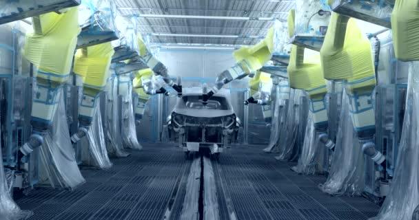 Araba Otomobil Fabrikasında üretim Hattında Boyama Robotları Stok