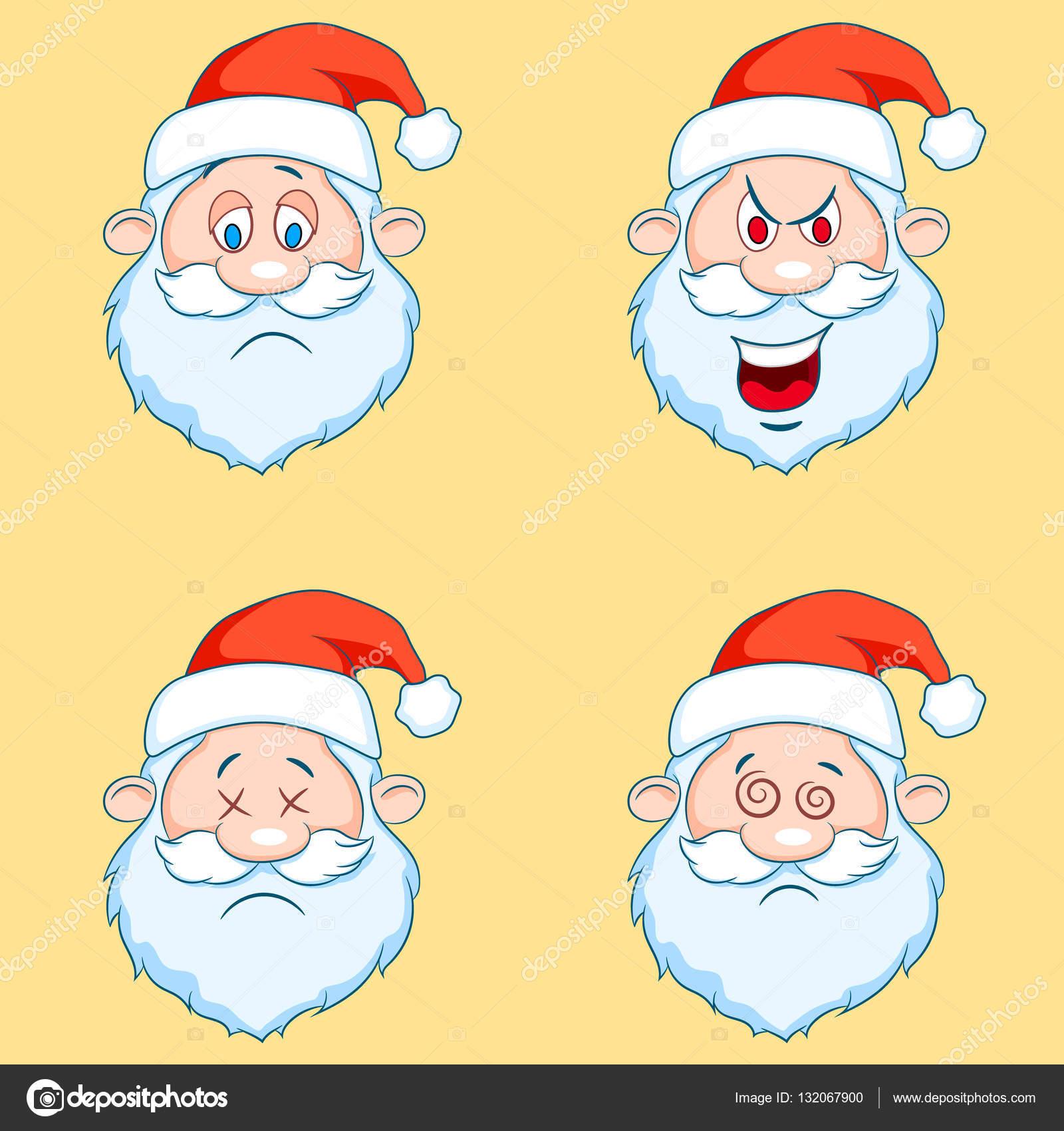 Immagini Simpatiche Di Babbo Natale.Quattro Divertenti Teste Di Babbo Natale Set Vettoriali