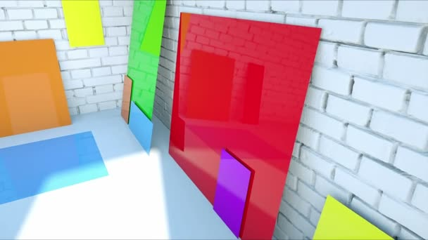 color blanks paper on brick room. Color plastic