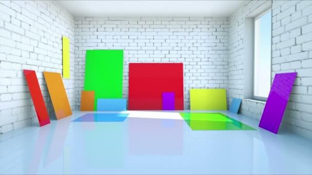 színes üres papír a tégla szoba. Színes műanyag