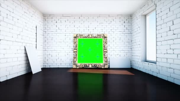 gold antique frame in white  brick room. Green screen tracking footage