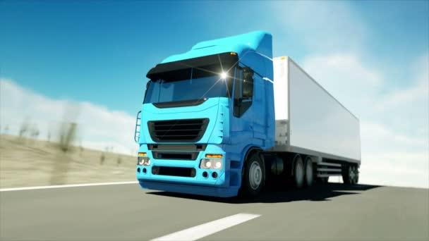LKW auf der Straße, Autobahn. Transporte, Logistikkonzept. Superrealistische Animation mit physikalischer Bewegung.