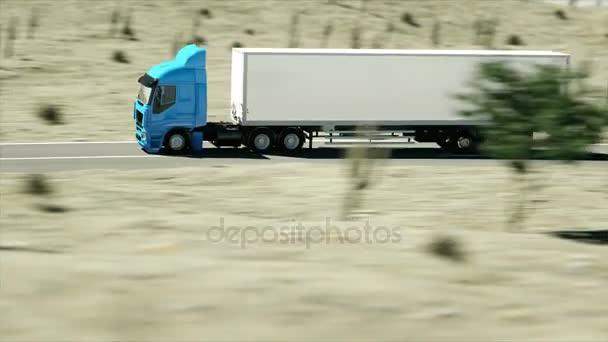 Auto na silnici, dálnici. Transporty, koncepce logistiky. Super realistické animace s physiks pohybu.