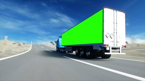 Truck on the road, highway. Transports, logistics concept. super realistic animation with physiks motion. Green screen