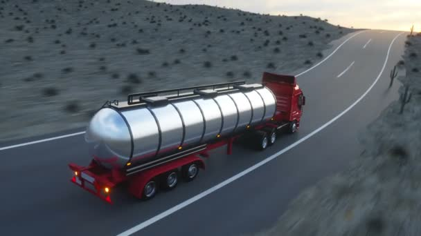 Cisterna di benzina, olio di trailer, camion sulla strada principale. Guida molto veloce. Auto realistica animazione.