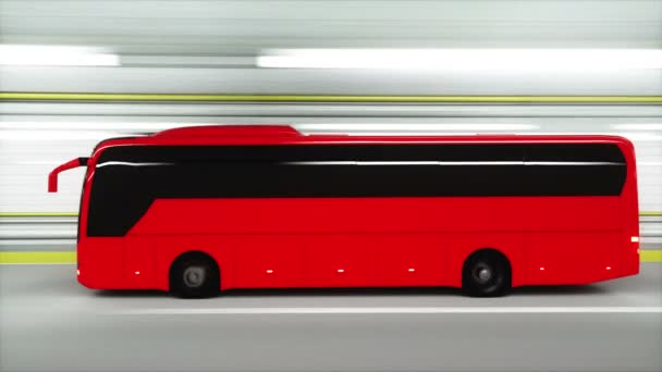 red tourist bus in a tunnel. fast driving. tourism concept. 3d animation.
