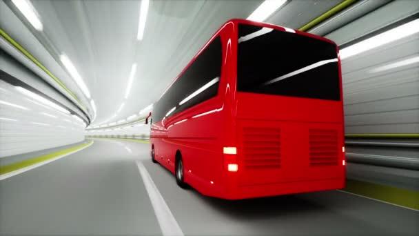 piros turista busz egy alagútban. gyors vezetés. Turisztikai koncepció. 3D animáció.