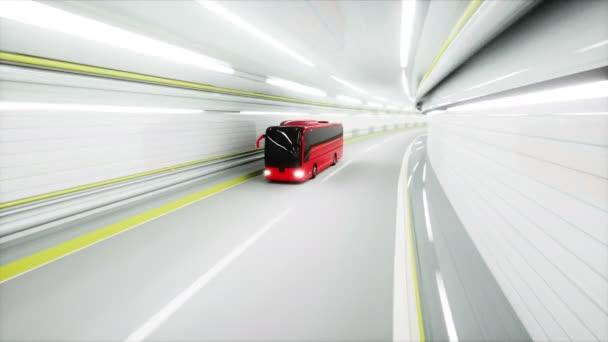 červené turistické autobus v tunelu. rychlou jízdu. koncepce cestovního ruchu. 3D animace.