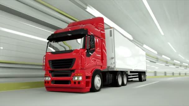 červená truckin tunel. rychlou jízdu. 3D vykreslování.