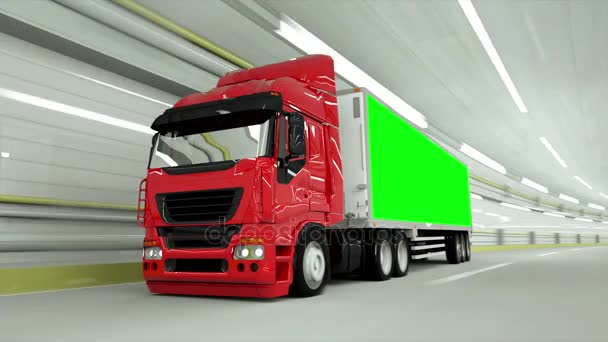 red truckin a tunnel. fast driving. Green screen footage.