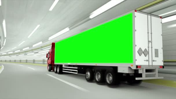červená truckin tunel. rychlou jízdu. Zelená obrazovka záběry.