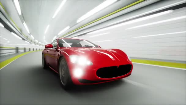 roter Sportwagen in einem Tunnel. Schnelles Fahren. 3D-Animation.