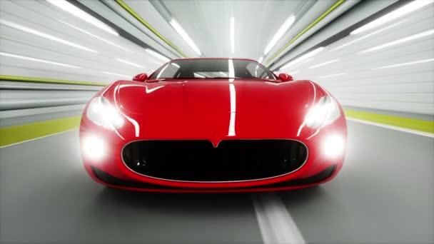 červené sportovní auto v tunelu. rychlou jízdu. 3D animace.