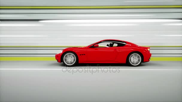 red sport car in a tunnel. fast driving. 3d animation.