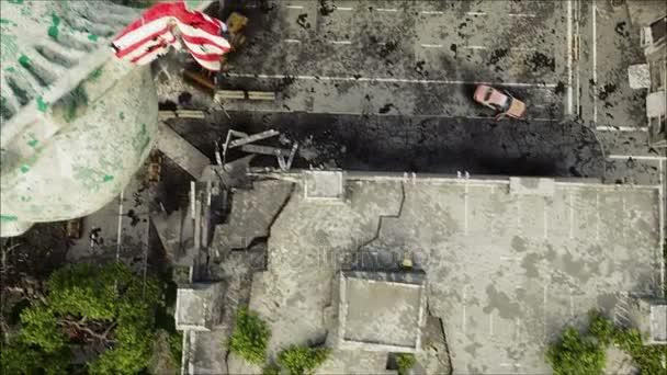 Apokalypsa z Usa, Amerika. Letecký pohled na zničené město New York Socha svobody. Koncepce apokalypsy. Animace Super realistické 4k