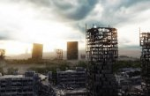 Fotografie Apocalypse city in fog. Aerial View of the destroyed city. Apocalypse concept. 3d rendering.