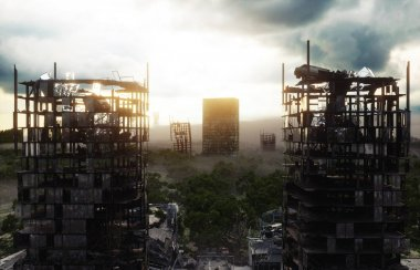 Apocalypse city in fog. Aerial View of the destroyed city. Apocalypse concept. 3d rendering.