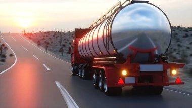 Benzin tankeri, petrol treyler, kamyon karayolu üzerinde. Çok hızlı araba. 3D render.