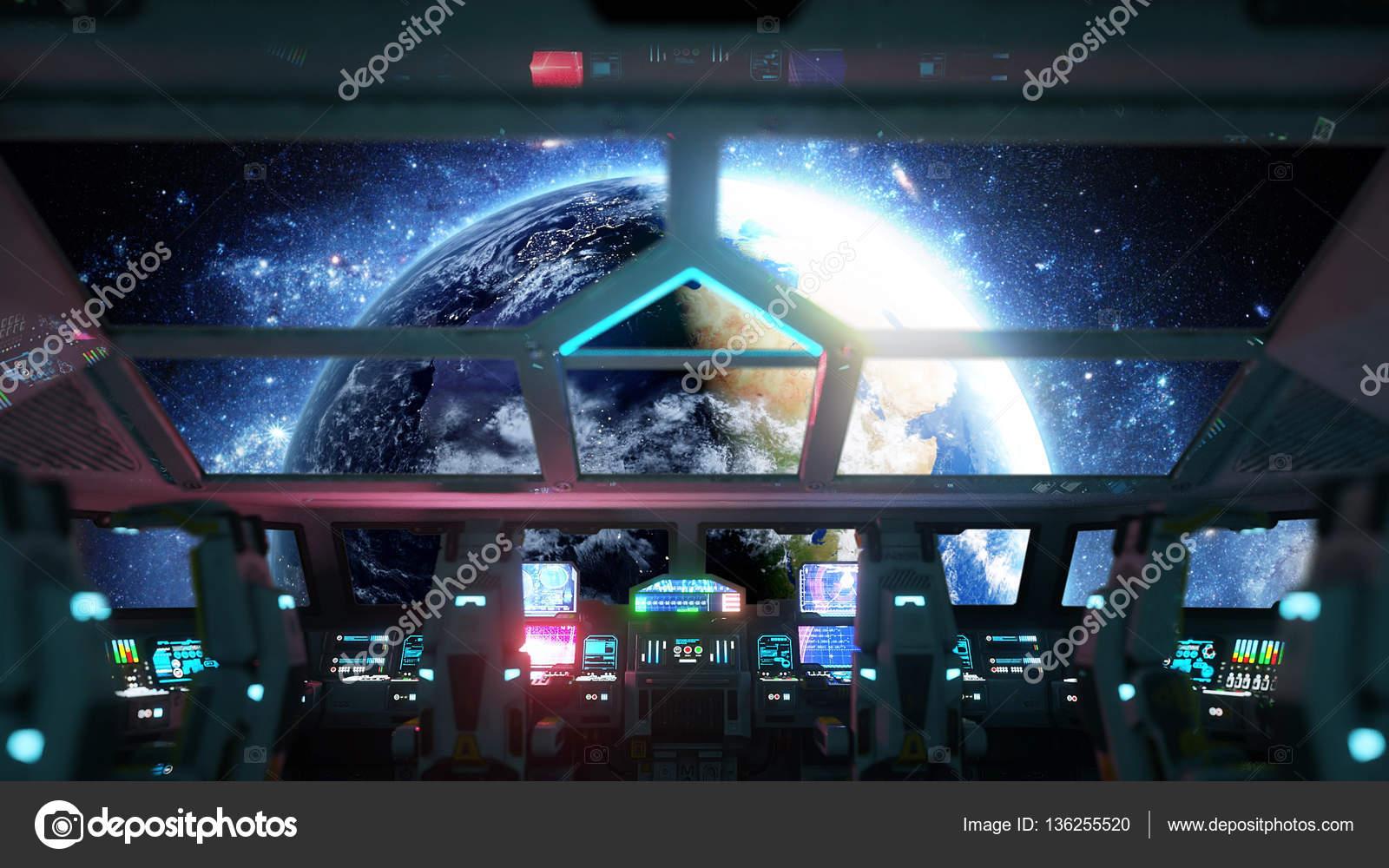 Interior De Ventana De Nave Espacial: Nave Espacial Futurista Interior. Vista De La Cabina