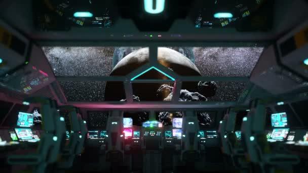 futuristický interiér kosmické lodi. Měsíční pohled z kabiny. Galaktické cestování koncept