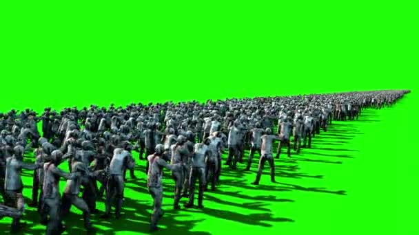 A large crowd of zombies  Apocalypse, halloween concept  4K green screen  animation
