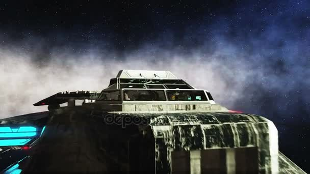 Futuristic space ship in space. Earth planet wonderfull view. realistic metal surface ship, displacement and normal map.