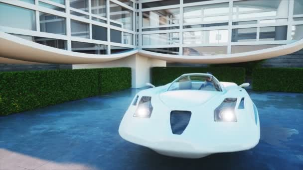 House Of Future Futuristic Flying Car With Woman Super Realistic