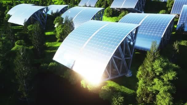 Letecký pohled na solární panely. Krásné přírody. Budoucnost. Realistické animace 4 k.
