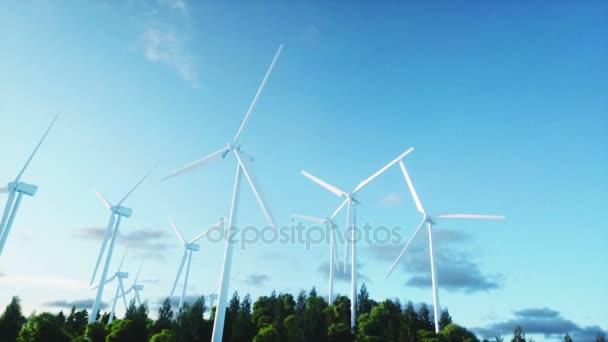 Větrná turbína. Letecký pohled. monderfull krajina. Realistické animace 4 k.